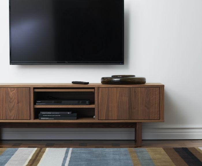 You can place this TV stand against a wall, freestanding or use as a divider because it looks nice even from the back. The STOCKHOLM collection, 2013.