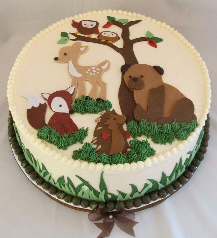 woodland animals---baby shower cake idea! @Julie Forrest Schkade