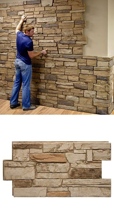 Unlike real stone or cultured stone, which require specialized labor to install, Urestone panels install easily and quickly with screws and/or adhesives. The only tools required are a drill (used as a screw-driver) and any wood type saw for trimming to exact fit. This faux stone product is amazing.