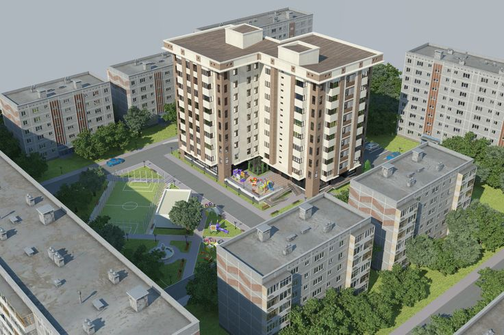 Многоэтажный Жилой Дом.  Multi-storey Residential House. 3D model done by ArchiCad. Render by 3-D Max/Photoshop.