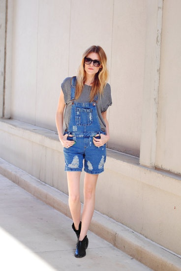 39 Street Snaps to Inspire Your Most Stylish Transition to Summer: Catch the overalls trend in action — and steal her easy styling with a laid-back tee and booties. Source: Lookbook.nu