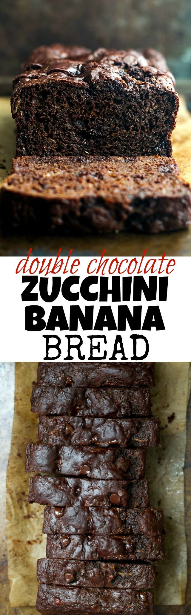 Double Chocolate Zucchini Banana Bread - zucchini, bananas, and Greek yogurt keep this loaf extra soft without the need for any added butter or oil! This bread is so tender and flavourful, you'd never guess it's healthy!