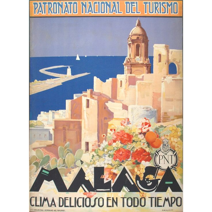 Original 1920s travel poster for Malaga, Andalusia Spain by Verdugo. http://www.costatropicalevents.com/en/costa-tropical-events/andalusia/welcome.html