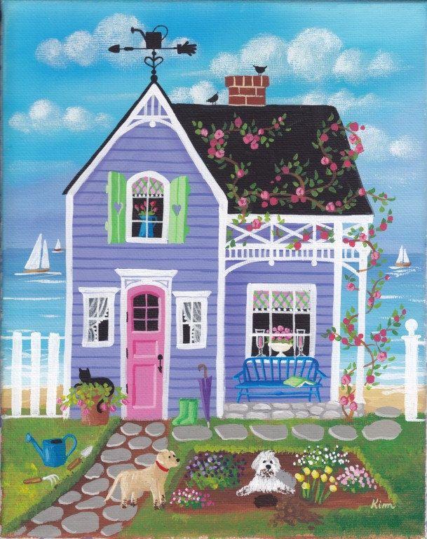 Spring Blooms Cottage Folk Art Print by KimsCottageArt on Etsy