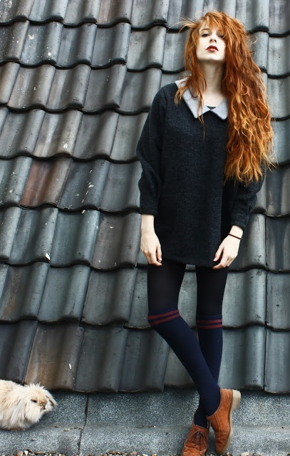 oversized sweater / sweatshirt + collared shirt underneath + tights + knee-high socks + oxfords | dark green + dark blue + chestnut + burgundy