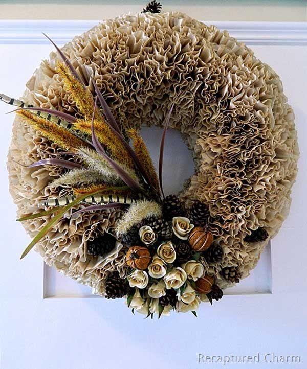 Fall Coffee Filter Wreath