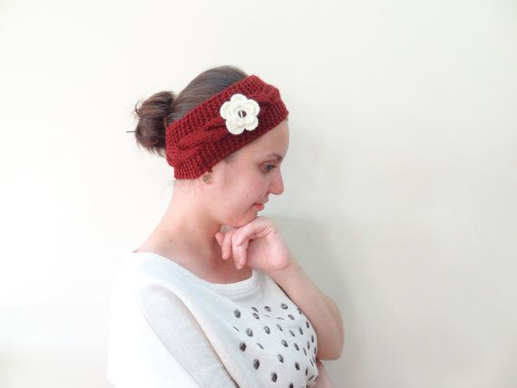 Burgundy Knit Headband Ivory HeadbandBurgundy by SwomanStore