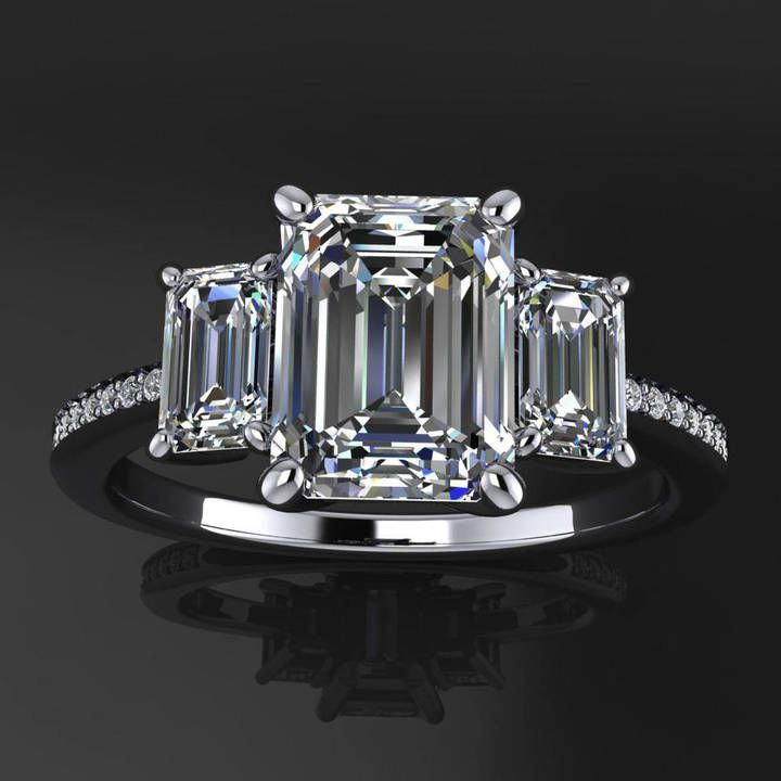 703410133ba4d2 Etsy kennedy ring - 1.75 carat emerald cut NEO moissanite engagement ring,  3 stone ring