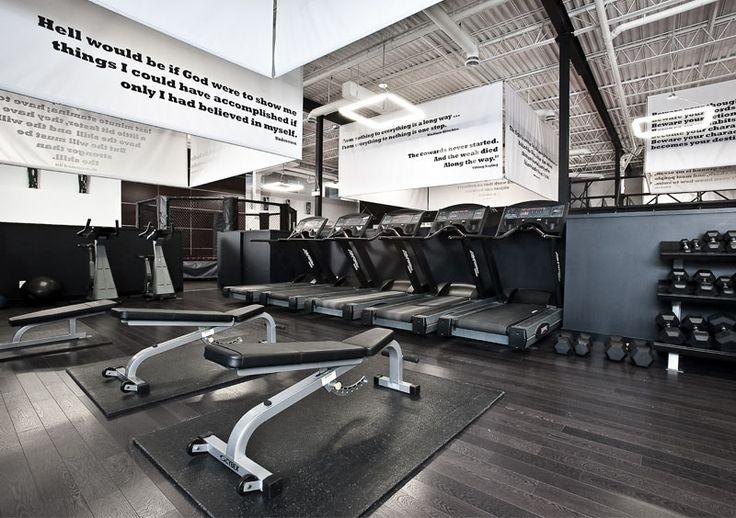Fitness Inspired Design | Dark, Wood Look Flooring | Designed by 2pir Design