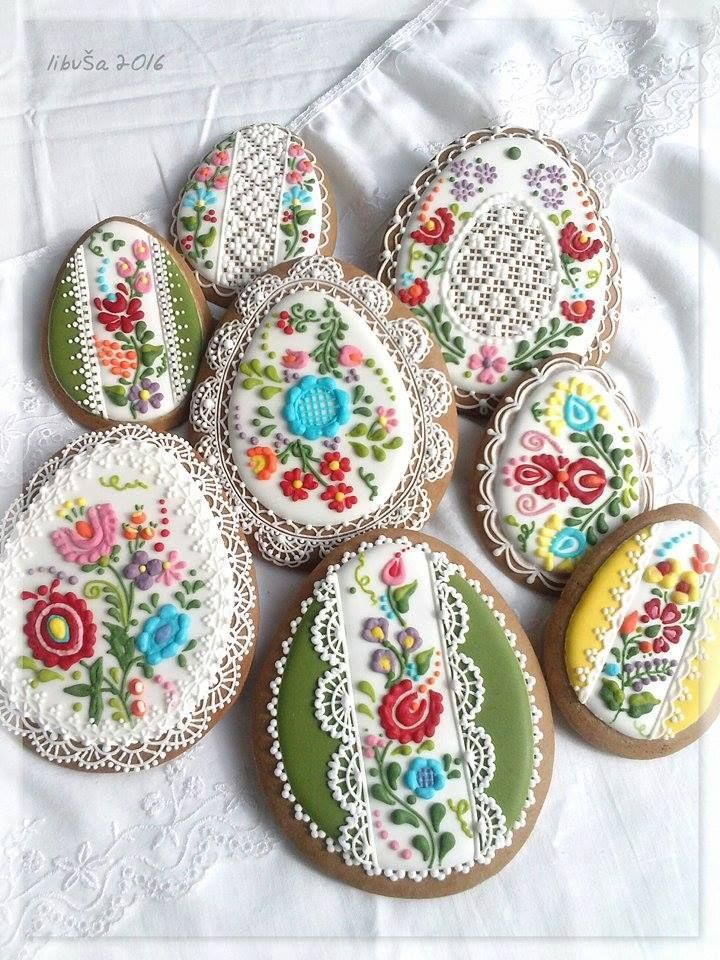 Gingerbread Easter egg cookies, decorated with Hungarian folk art and lace, from the region of Kalocsa.