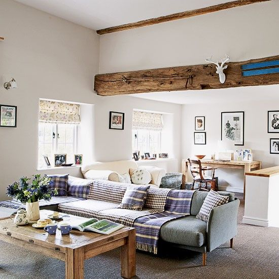 Warm country living room with low-profile sofa