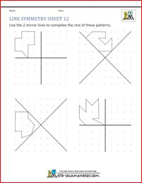 Tricky Line symmetry worksheet with 2 mirror lines on each grid