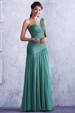 Light Green One Shoulder Fully Pleated Evening Dress Bridesmaid Dress (C00142604) - USD 84.48