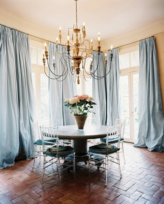 PORCELAIN BLUE SILK curtain dupioni silk by ZylstraArtAndDesign