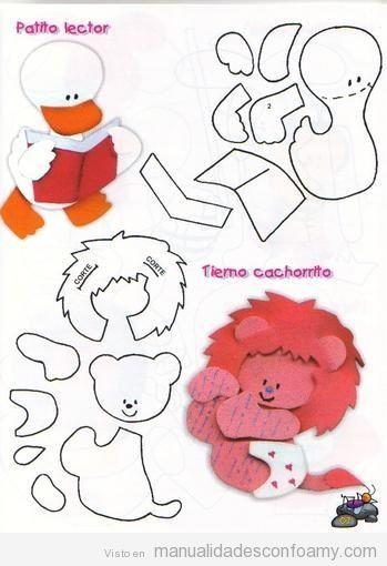 Pato y León de foamy con molde para descargar gratis | manualidades