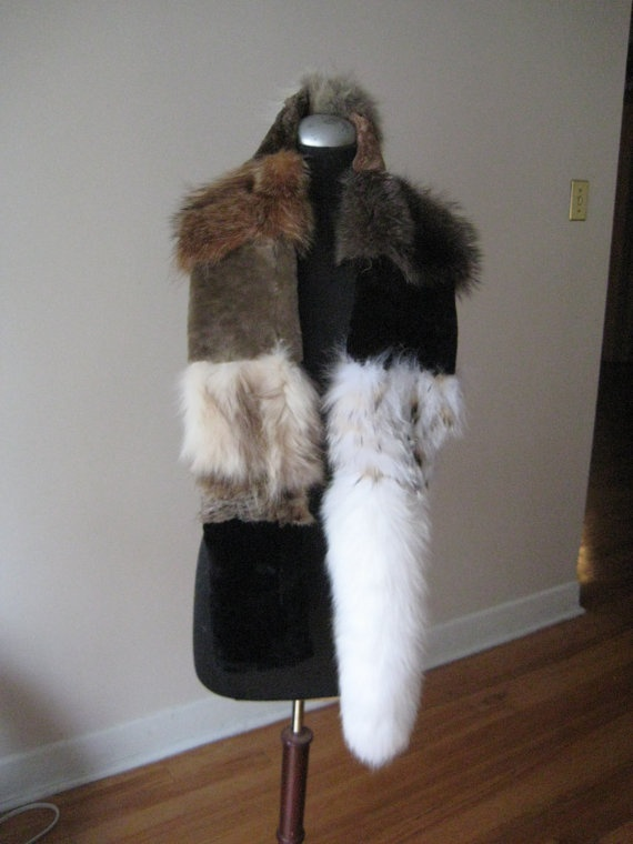 Unique fur scarf/boa with white fox fur tailFree by arisco on Etsy, $95.00