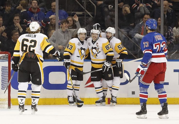 Sidney Crosby got angry, and then the Pittsburgh Penguins got even in a big way against the division-leading New York Rangers.  Following a first-period skirmish with Ryan McDonagh, Crosby had two goals and an assist during a five-goal second period and the Penguins shut down the Rangers in a 6-1 rout