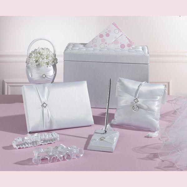 set, bianco, penna, libro ospiti, cuscino, giarrettiera, penna, cuscino, fedi, cesto, cestino, porta petali, porta lettere, port