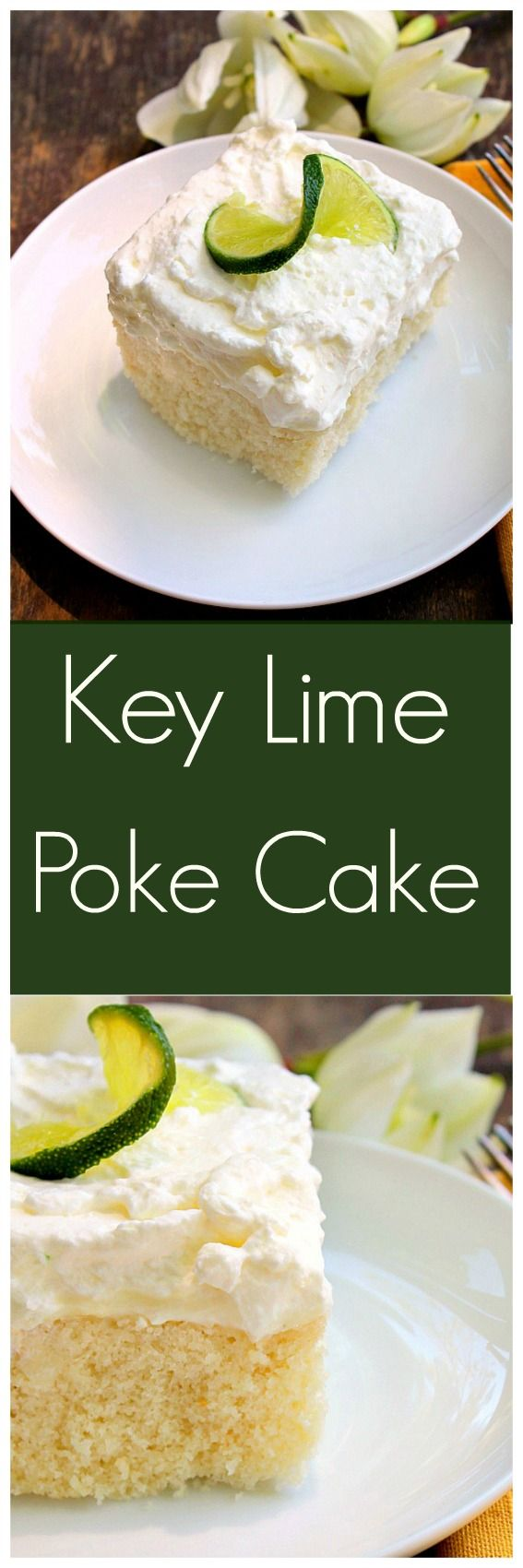 Key Lime Poke Cake... A homemade white cake with a mild key lime filling topped with whipped cream.  A very light and refreshing cake that can be made completely from scratch or semi homemade.