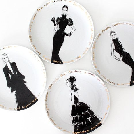 Couture Show Plates - set of four - Megan Hess