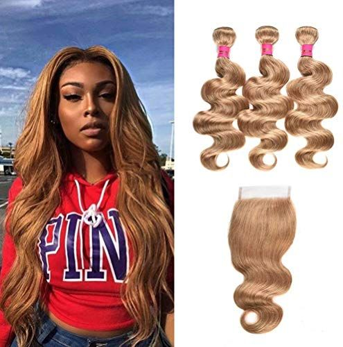 Buy WOME 3 Pieces Peruvian Body Wave Hair Weft With 4×4 Lace Frontal Closure Color #27 Honey Blonde Body Wave Hair Bundles With Closure (20 22 24+20 Closure, Blonde #27) ? online