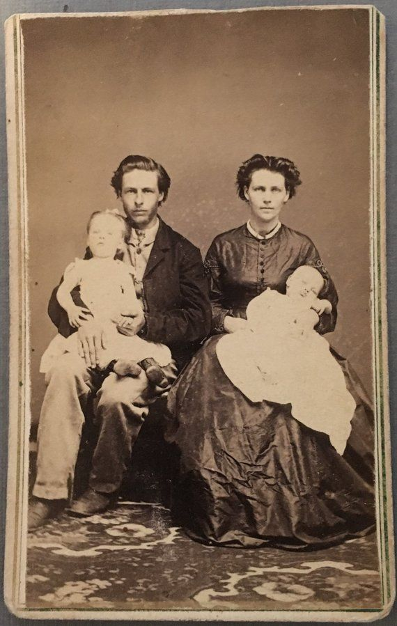 Antique CDV Photo Post Mortem Siblings 1800s Carte De Visite Vintage Ephemera Collectible Visiting Card Cabinet