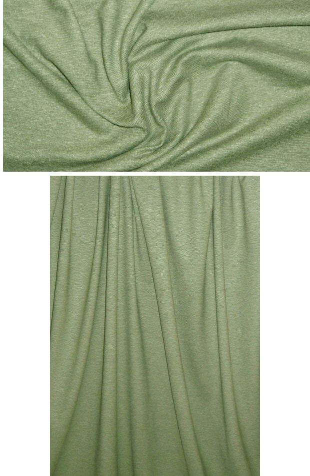 This hemp/organic cotton 2-way stretch sweatery jersey melange is a lovely, lightweight knit that you can feel good about wearing! Very soft and drapey with a rustic, slightly sweatery texture, a matte finish, and 20% stretch with great recovery in the width only. The color is bay leaf green (PANTONE 17-0115).