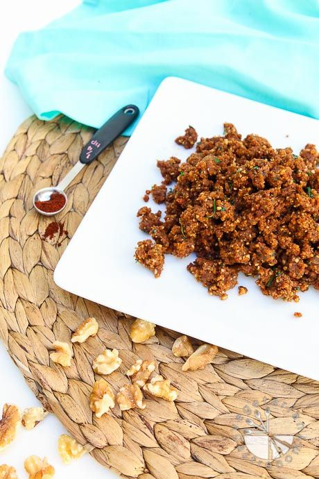 """Savory Walnut Sun-Dried Tomato Crumble recipe! When it's been called the best vegan """"ground round"""", you know you have to try it! Made with clean whole ingredients. #glutenfree 