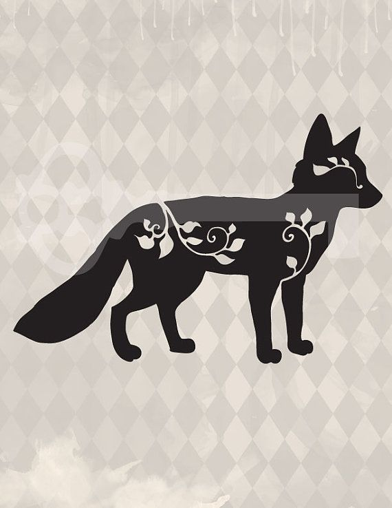 filigree fox silhouette original illustration by TanglesGraphics, $1.00  Inspiration for moss graffiti!