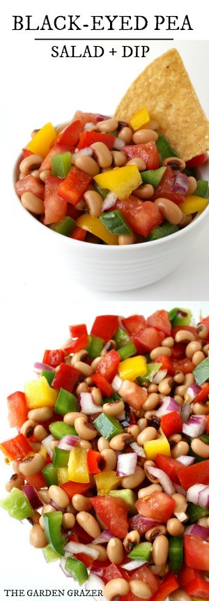 Black-Eyed Pea Salad with tangy vinaigrette. Make it ahead of time, then chill in the fridge to take out when ready! (vegan, gluten-free)