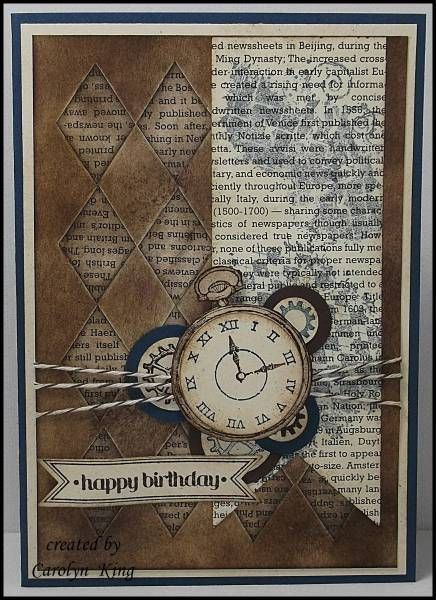 "handmade card ... vintage feel ... browns, blues & cream ...  Clockworks & Itty Bitty Banners ... great ""man card"" ... Stampin' Up!"