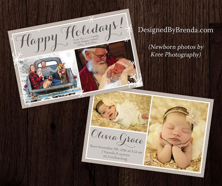 Combined Holiday Card And Birth Announcement With Photos On Both Sides    Tan, Brown U0026 White Snowflakes