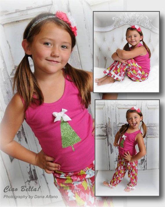 Pink Christmas Tree Pajamas, Girls Christmas Pajamas, Christmas Pajamas for Children, Kids Christmas Pajamas, 6, 8, 10