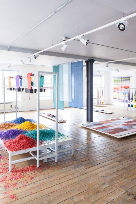 Dutch studio Raw Color has turned office supplies into a chromatic exhibition at London's Aram Gallery.
