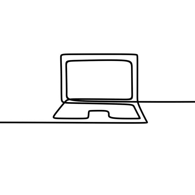 One Line Art Of Laptop Drawing Vector Laptop Drawing Job Png And Vector With Transparent Background For Free Download Laptop Drawing Simple Line Drawings Line Art