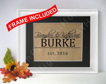 First Home - Personalized Family Name Sign WITH FRAME - Burlap Housewarming Print - Burlap Wedding Gift- New Home - House Warming Gift