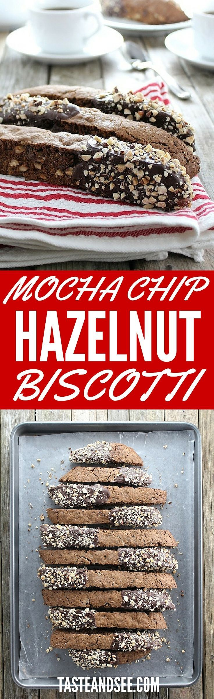 Mocha Chip Hazelnut Biscotti - loaded with chopped hazelnuts, chocolate chips, and coffee, glazed in melted chocolate and topped w/toasted hazelnuts.  http://tasteandsee.com
