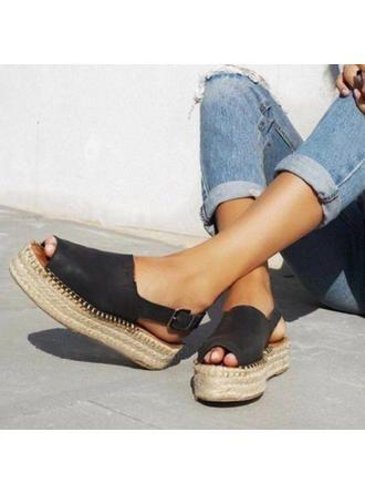 Femmes PU Talon plat Sandales Chaussures plates À bout ouvert avec Boucle chaussures (087272842)