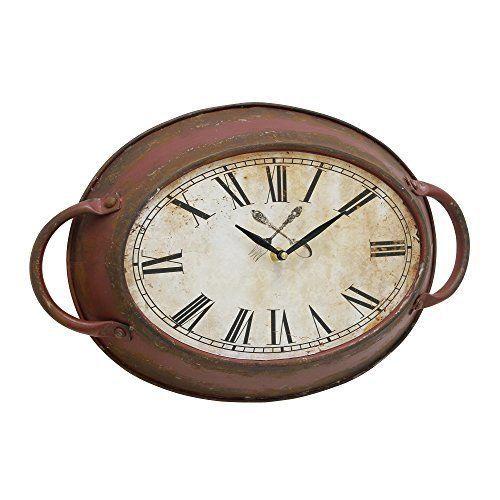 K&N- Vintage Oval Metal Wall Clock Art Red Rustic Hanging Kitchen Home Decor US #KandN #Vintage