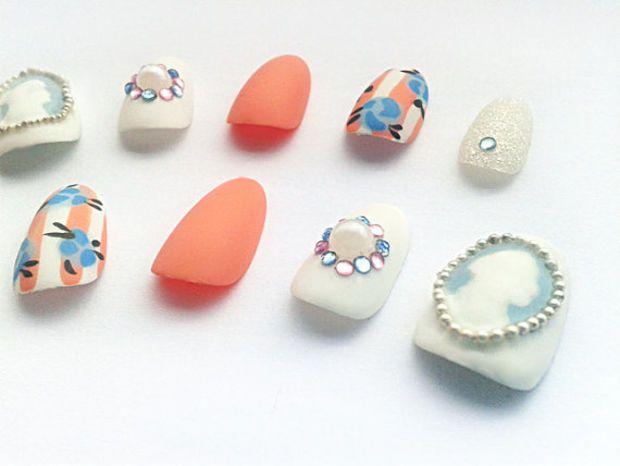 Victorian Cameo Round Fake Nails, Hand Painted Oval False Nails, Handpainted Artificial Nail Set, Matte Nail Art Design