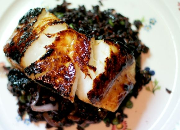 miso-glazed sea bass - cooked 2 fillets for 6 minutes (3 minutes on ...