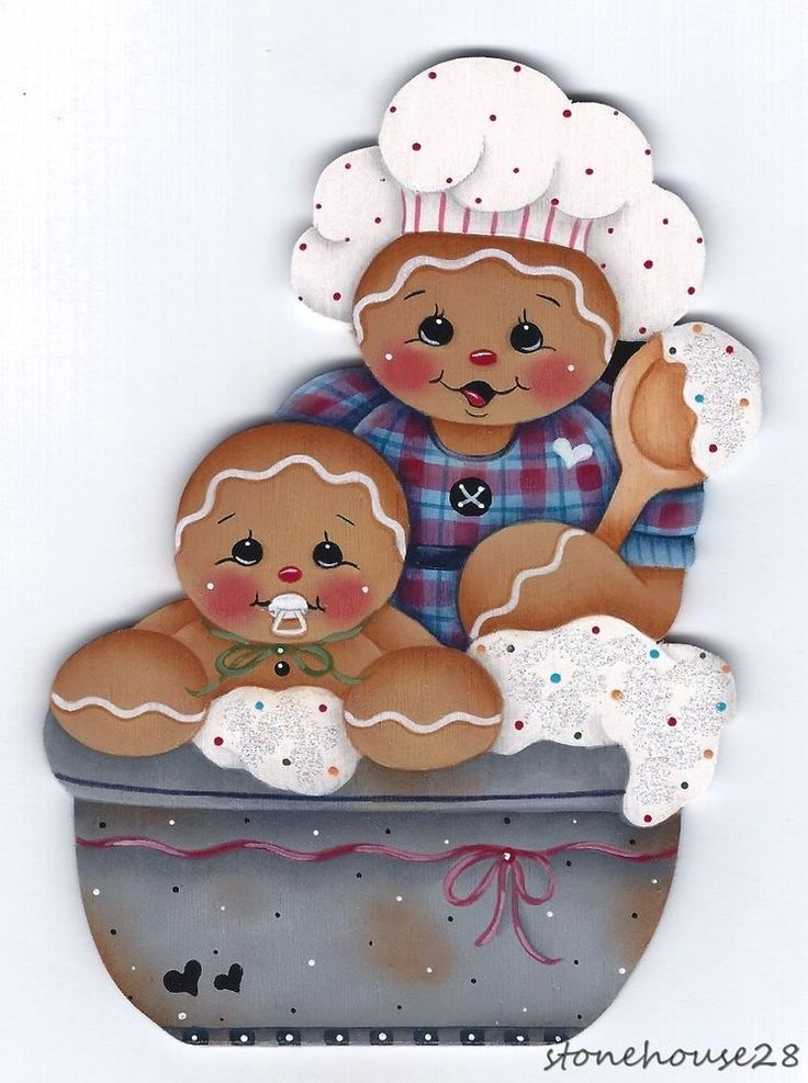 HP GINGERBREAD Mom and Baby Bakers FRIDGE MAGNET #Handpainted