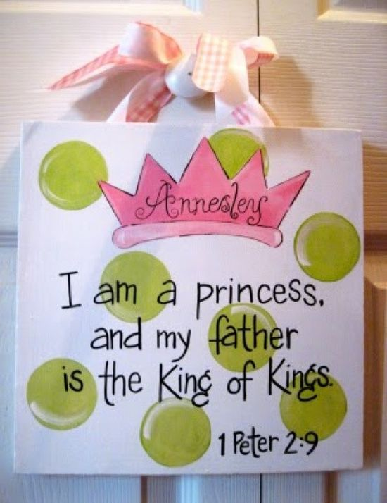 Princess Baby Girl Bible Verse Canvas Sign. $25.00, via Etsy. I mean I can paint this on my own for