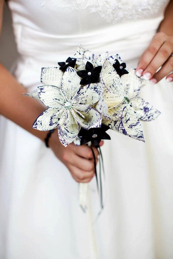Paper Wedding Bridal Bouquet- A Midsummer's Night Dream, 10 inch, 18 flowers, handmade, one of a kind, origami, destination wedding