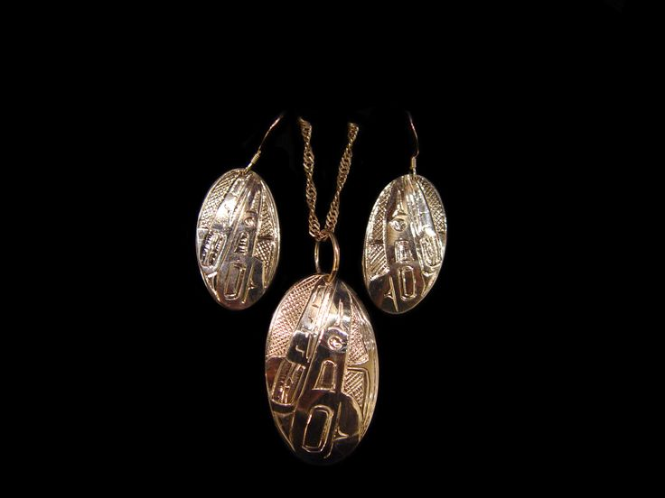 Raven earring and pendant set by Terrence Campbell, Tahltan. Sterling silver. First Nations Art at Black Tusk Gallery.