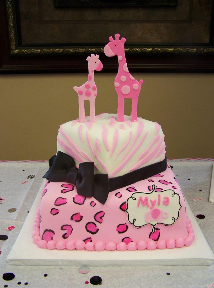 Baby Shower Cakes Safari ~ Pink safari themed cake baby shower cakes pinterest