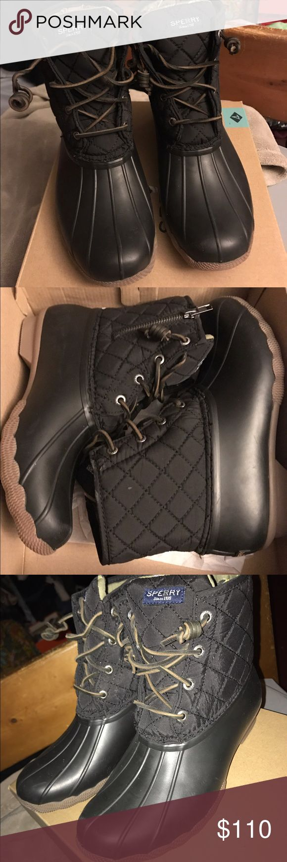Sperry quilt boot Rain and snow winter fashion quilt not by sperry. Brand new and a couple sizes available. Can do a little cheaper on merc Sperry Shoes Ankle Boots & Booties