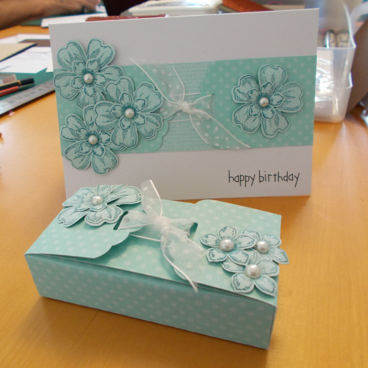 Box and matching gift card using scallop tag topper punch, flower shop stamps and petite petals from Stampin' Up