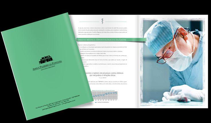 Folder para escritório de advocacia especializado em direito médico. Verso da capa. Veja mais em http://www.bakerdesign.com.br/folder-folhetos.html