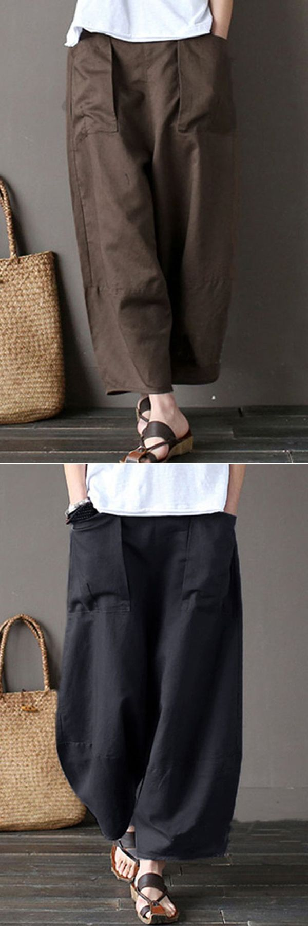 [Newchic Online Shopping] 47%OFF Gracila Casual Pants | Pure Color Pants | Wide Leg Pants | Elastic Waist Pants | Pants for Women #pants #womensfashion #winterfashion